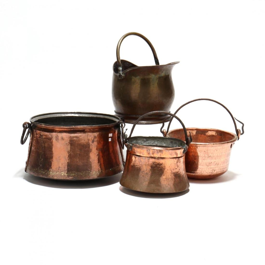 Four Copper and Brass Buckets