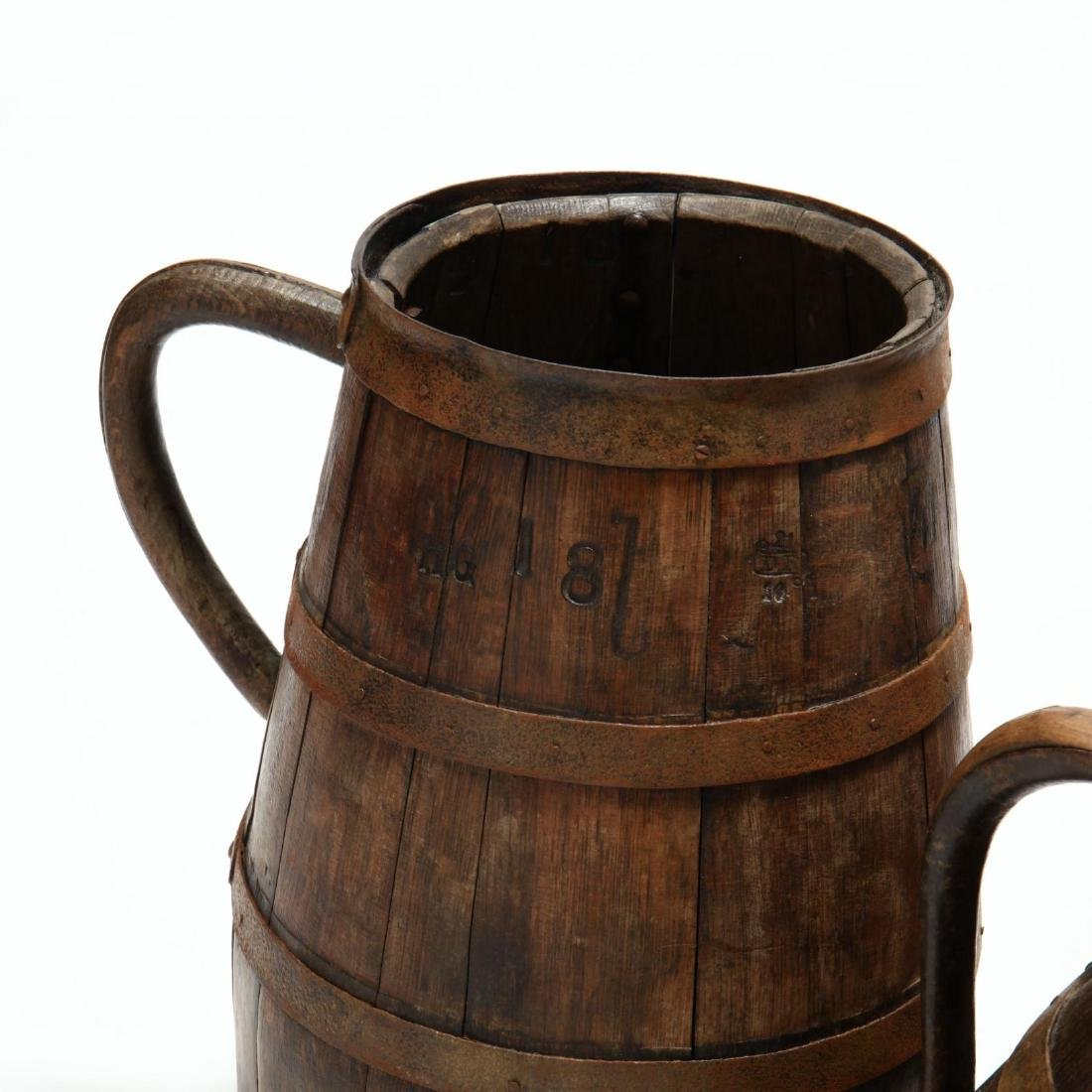 Three Antique Oak Handled Vessels - 2