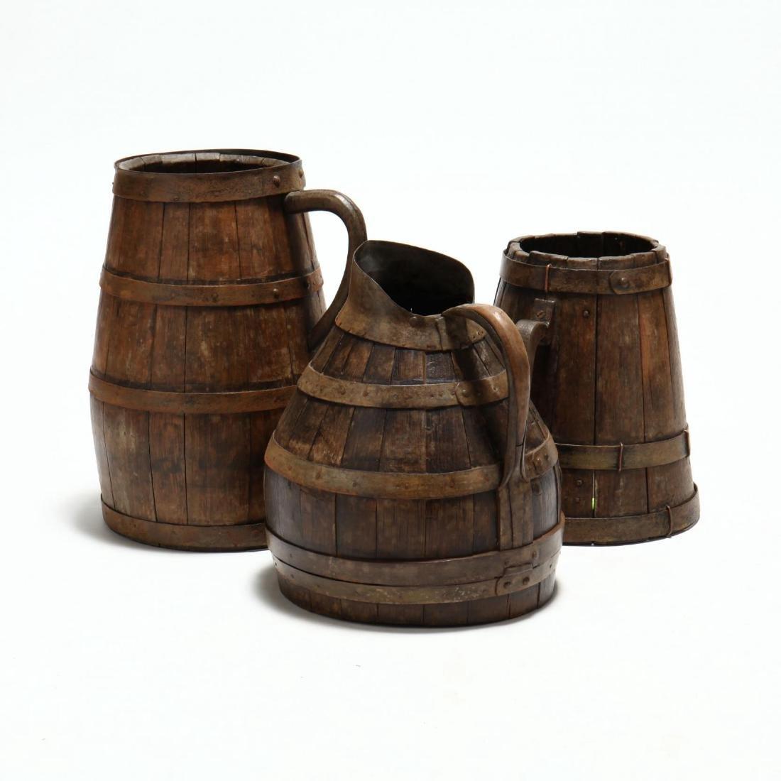 Three Antique Oak Handled Vessels - 4