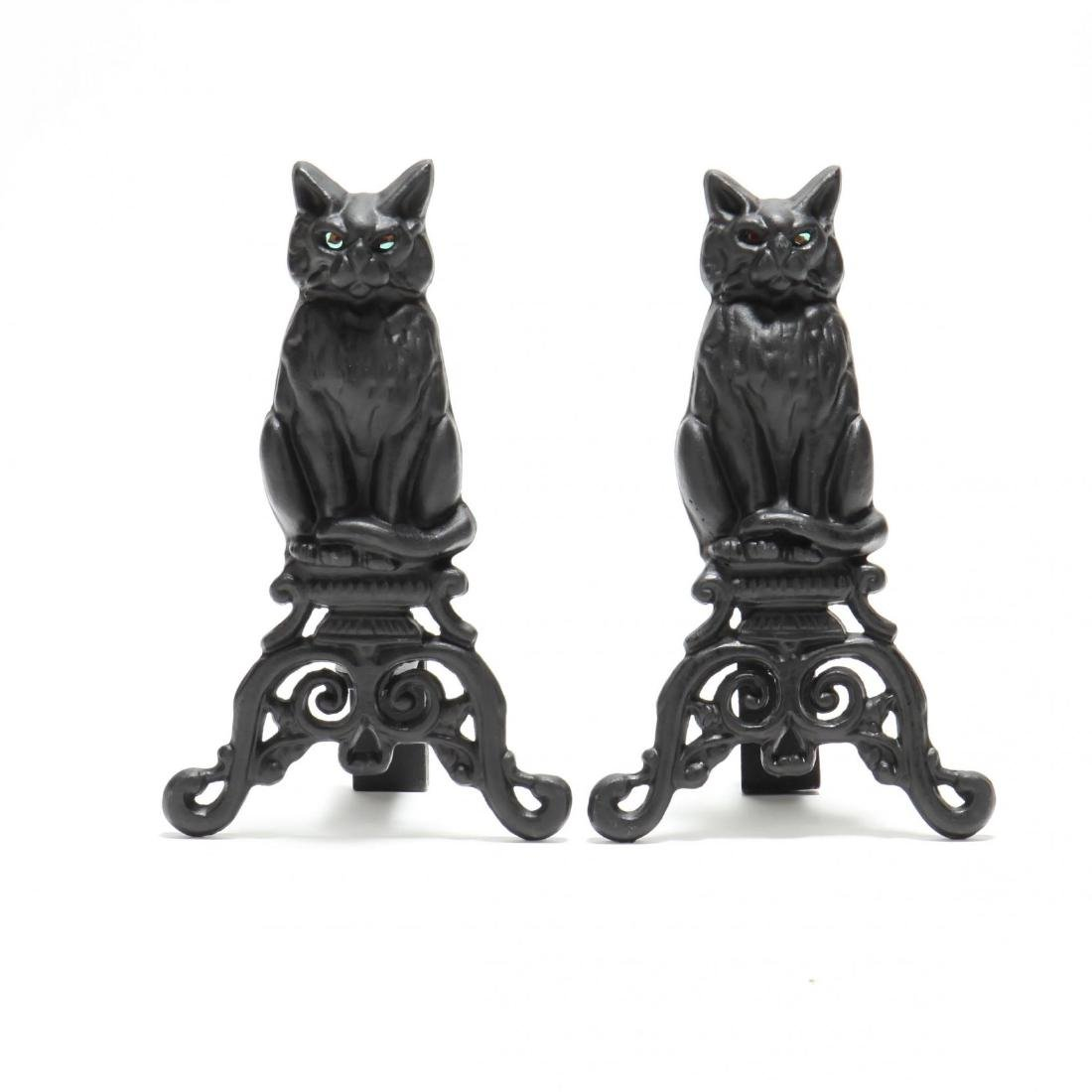 Pair of Cat Form Cast Iron Andirons