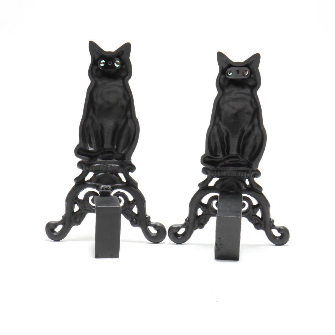 Pair of Cat Form Cast Iron Andirons - 2