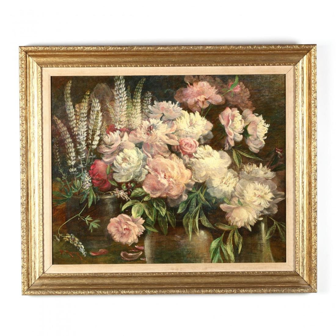 Peter Roos (MA/IL, 1850-1920), Still Life with Peonies