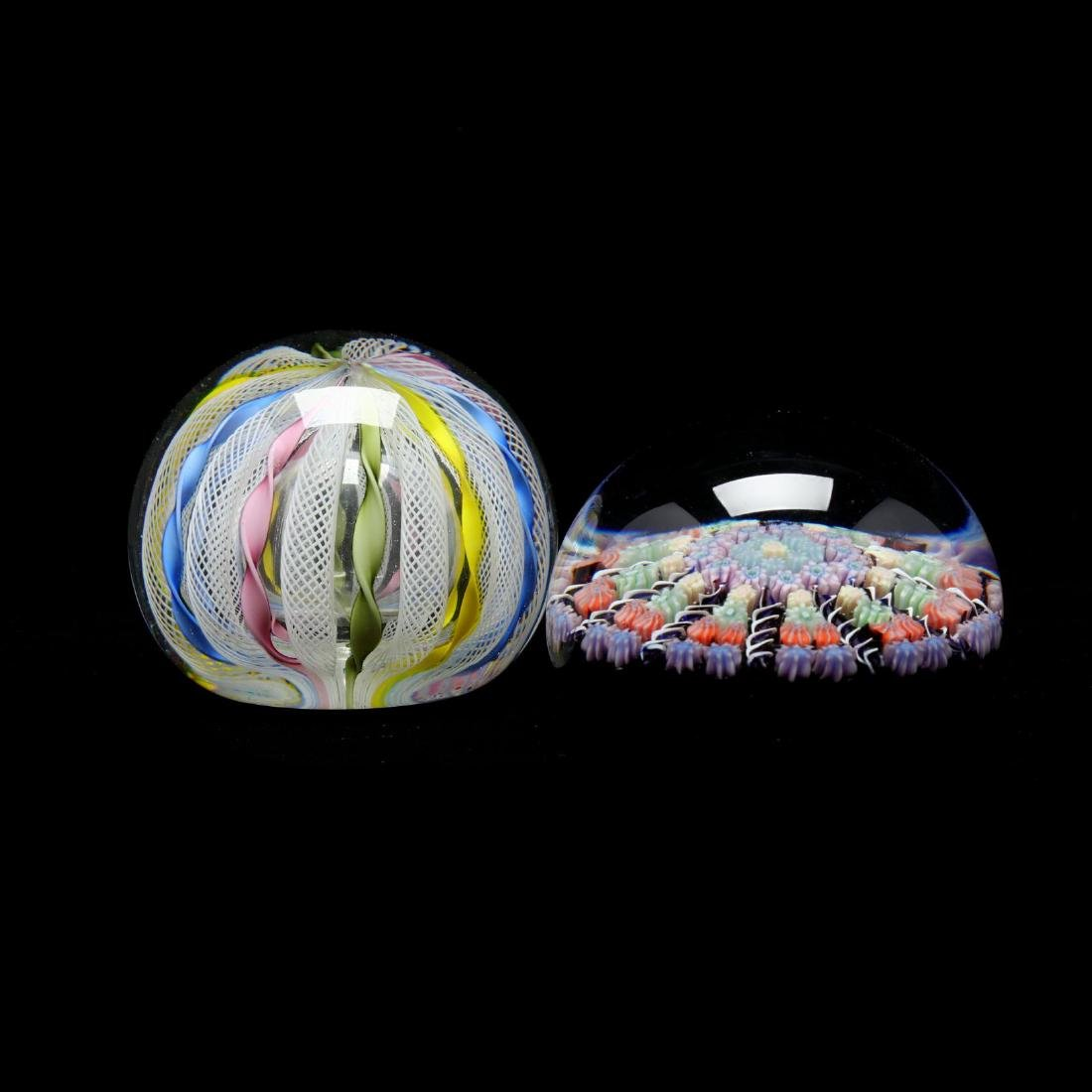 Two Fine Cane Worked Paperweights - 2