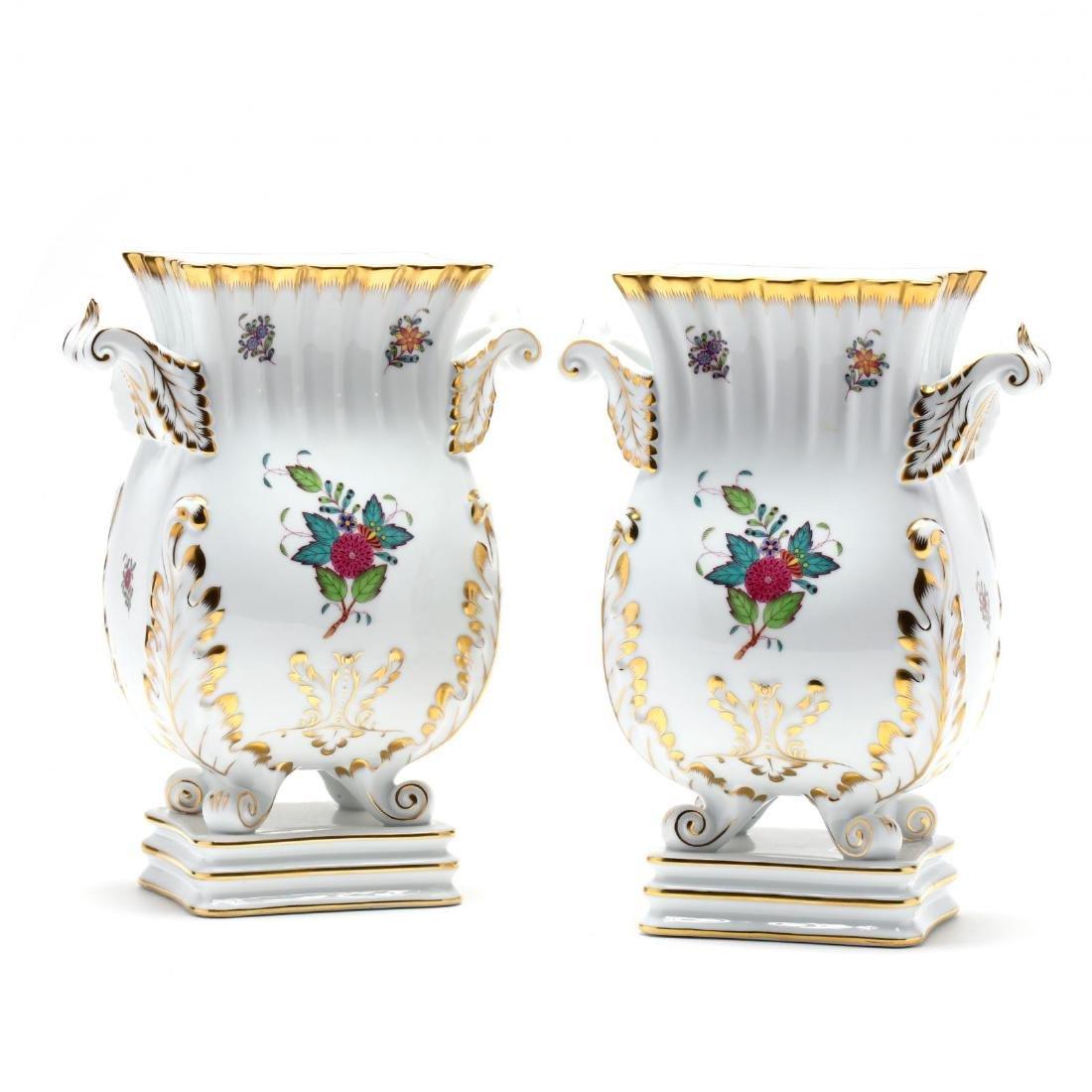 "Herend, Pair of ""Indian Basket"" Square Mantle Vases"