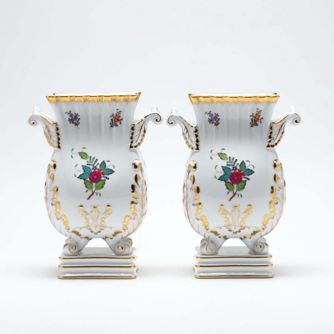 "Herend, Pair of ""Indian Basket"" Square Mantle Vases - 2"
