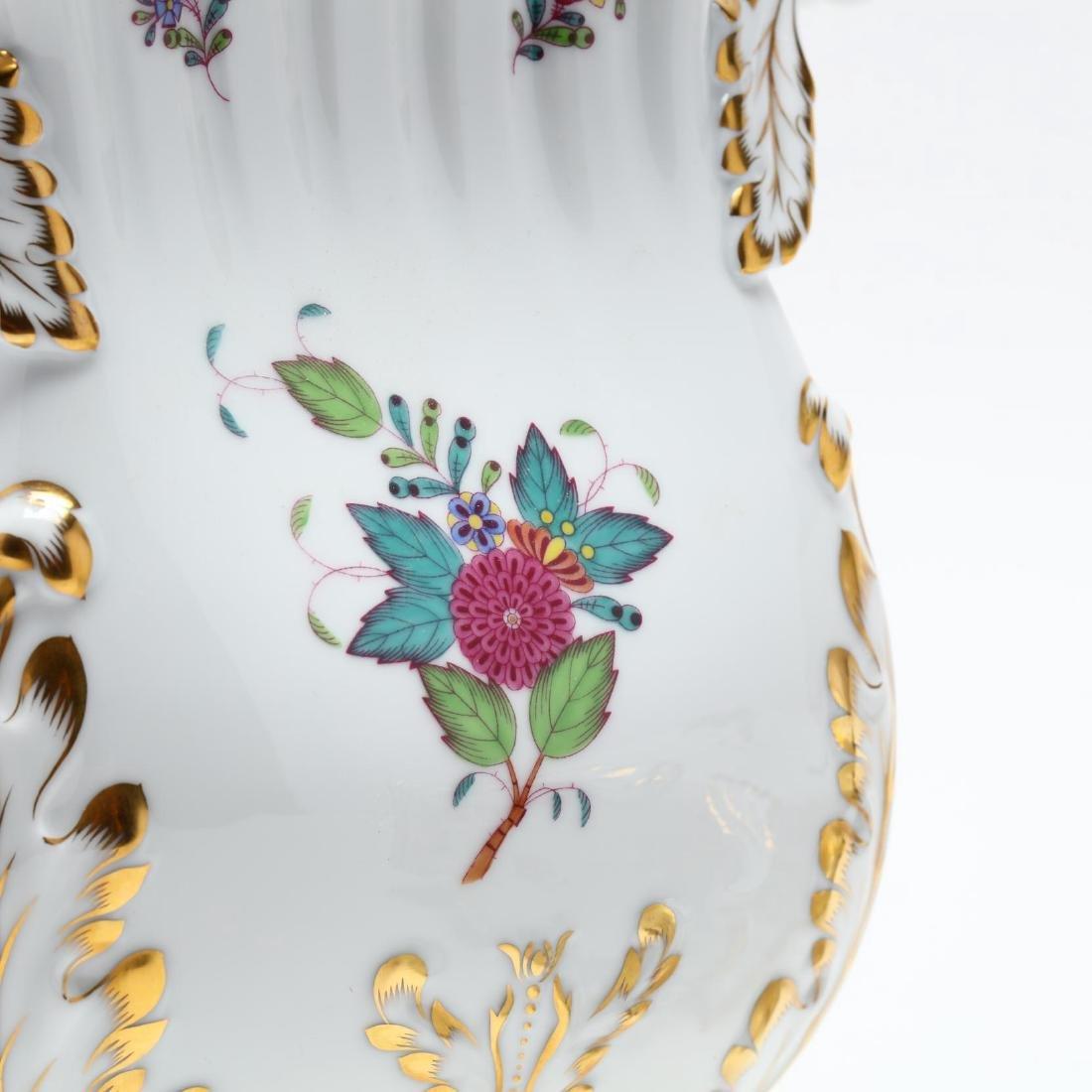 "Herend, Pair of ""Indian Basket"" Square Mantle Vases - 3"