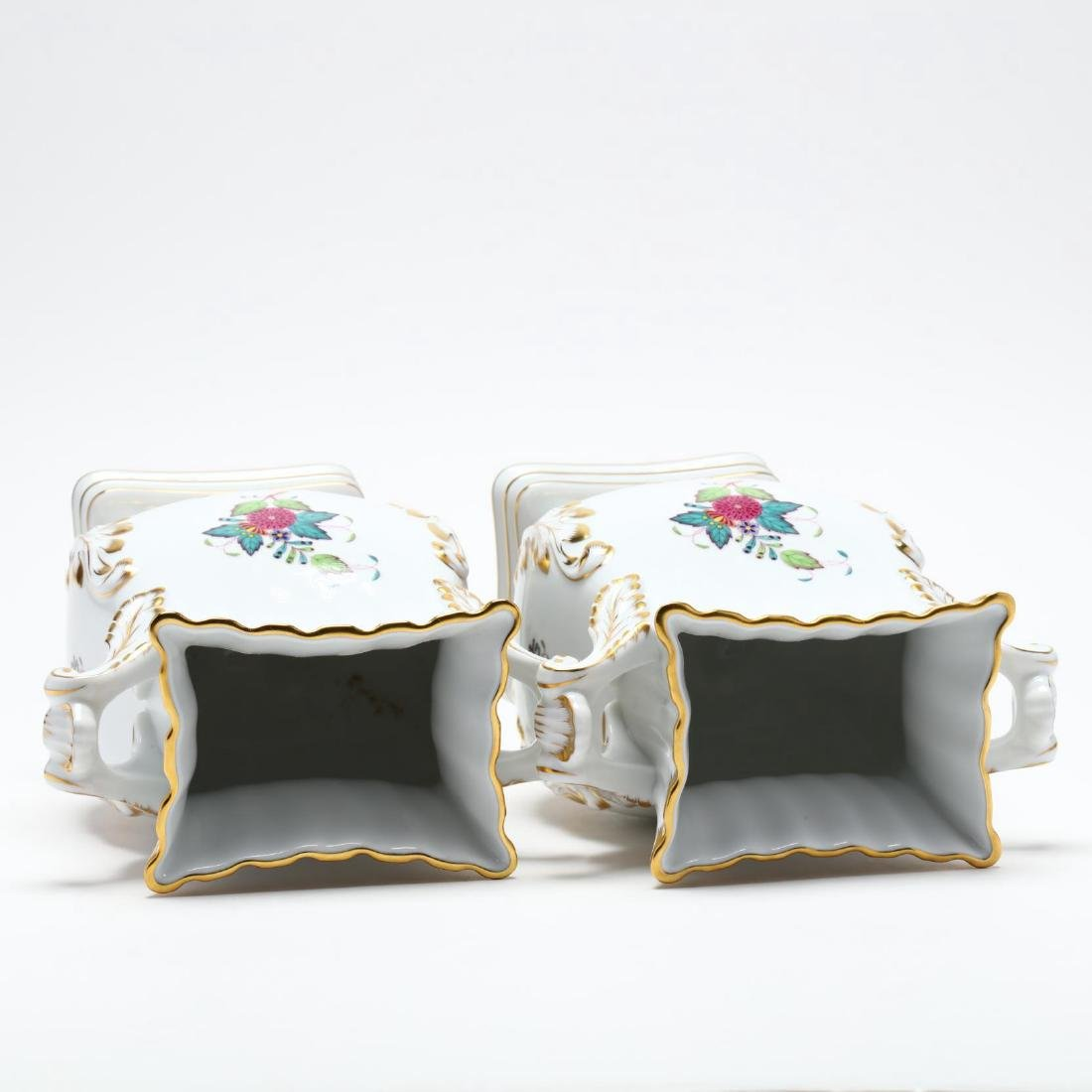 "Herend, Pair of ""Indian Basket"" Square Mantle Vases - 4"
