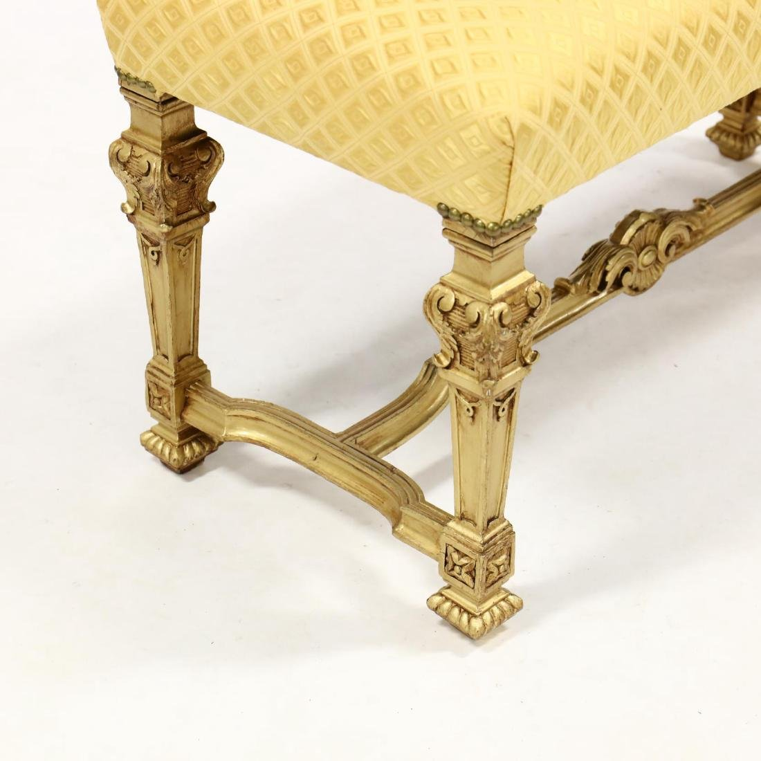 Louis XIV Style Gilded and Upholstered Bench - 3