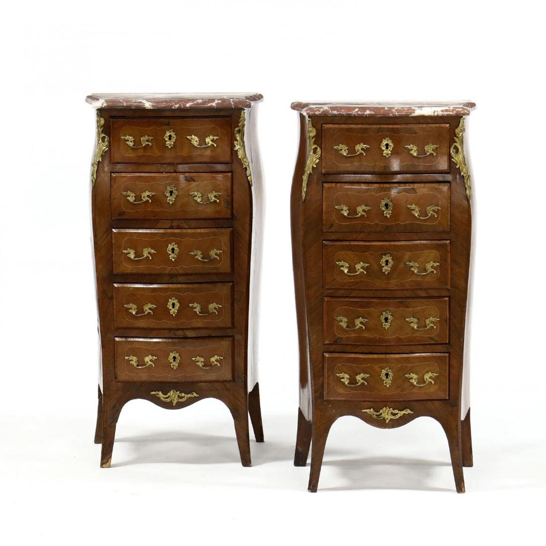 Pair of Louis XV Style Marble Top Lingerie Chests