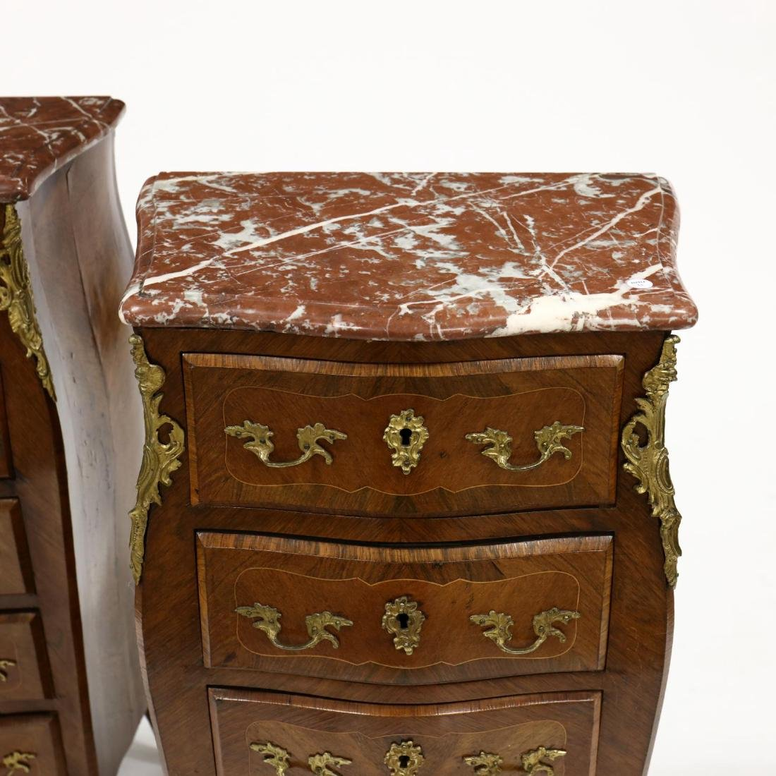 Pair of Louis XV Style Marble Top Lingerie Chests - 2