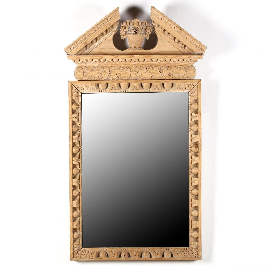 Italianate Carved Pine Architectural Mirror