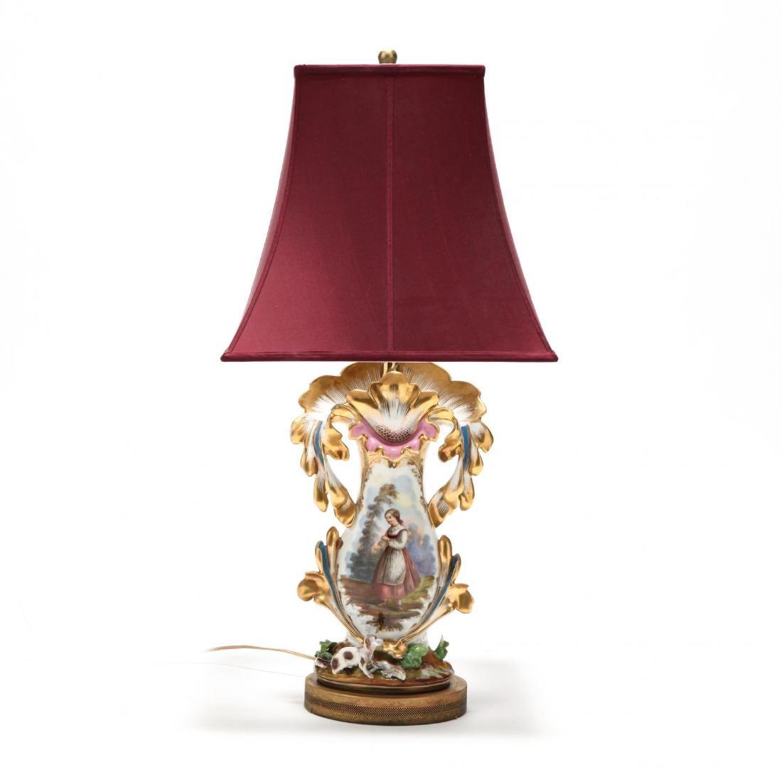 Antique Paris Porcelain Table Lamp