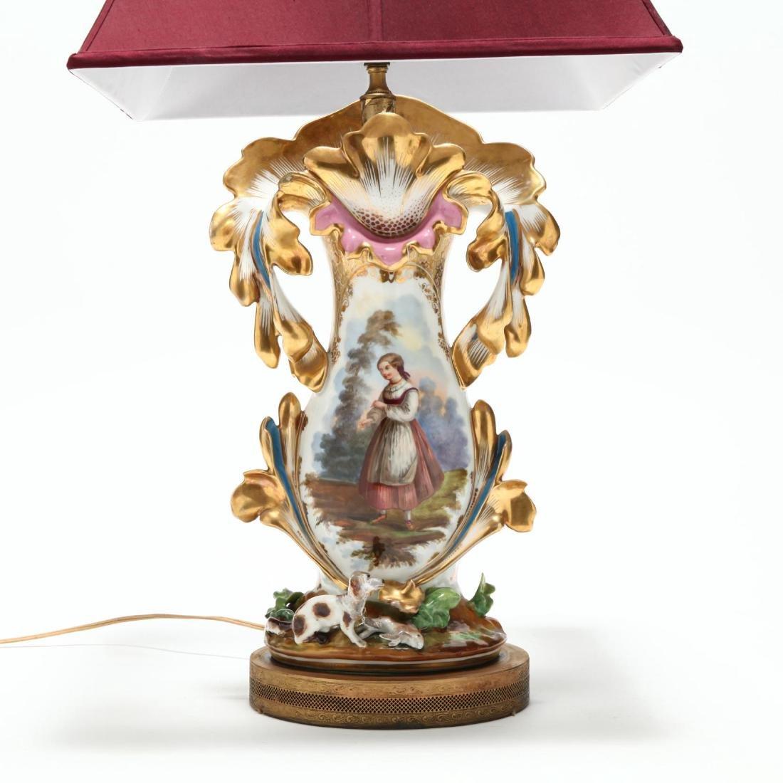 Antique Paris Porcelain Table Lamp - 2