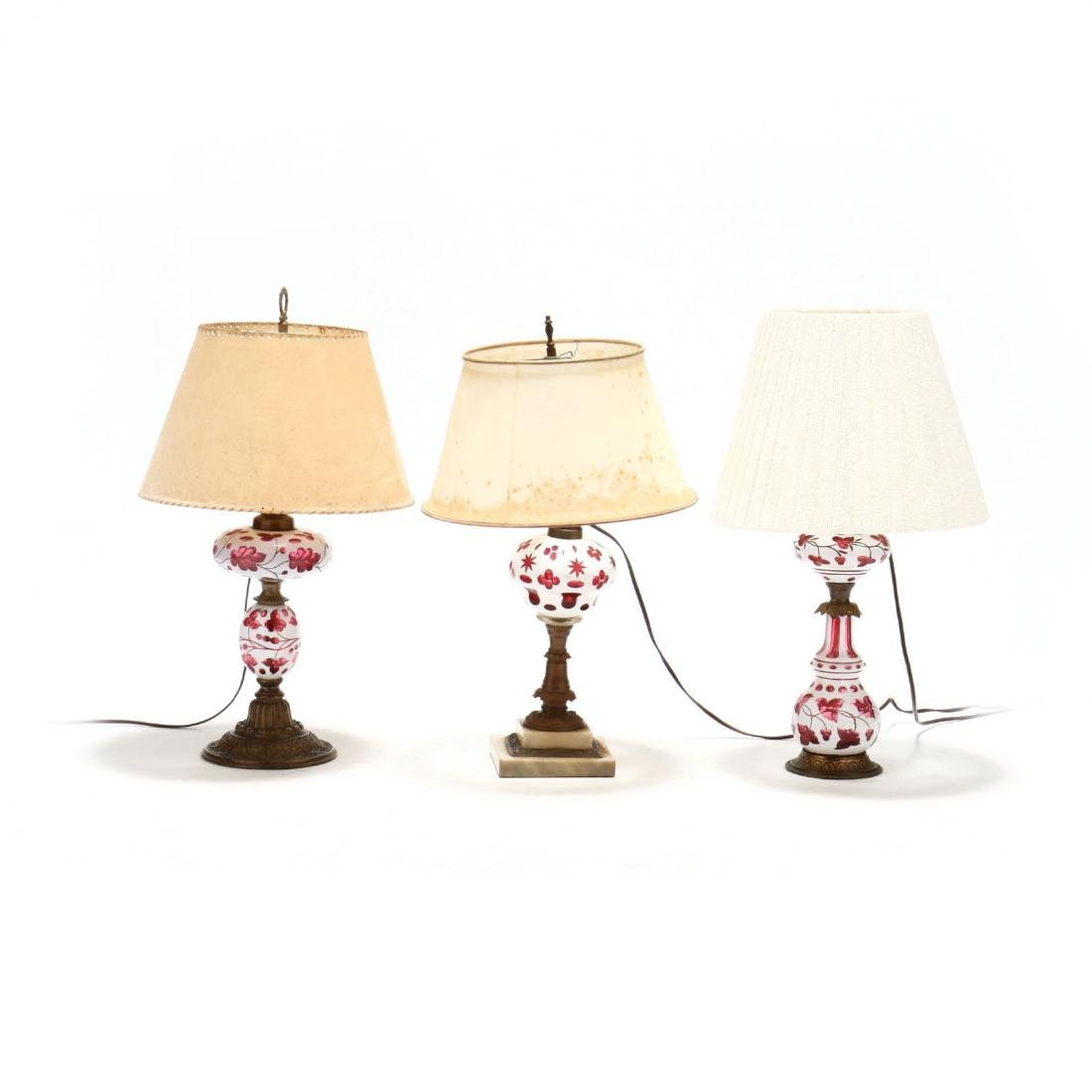 Three Bohemian Cut to Cranberry Glass Lamps