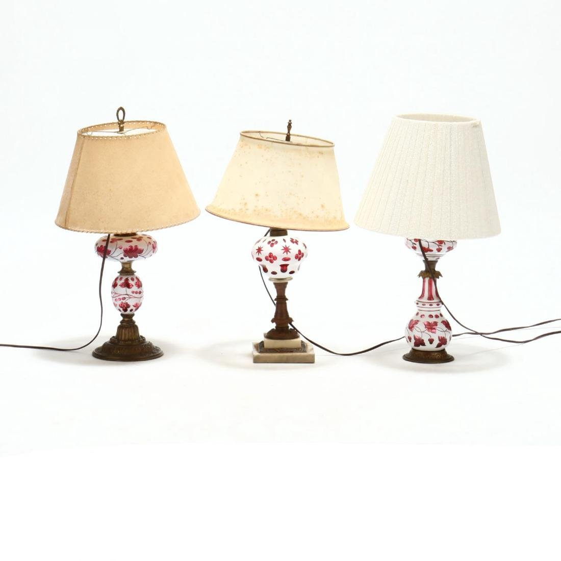 Three Bohemian Cut to Cranberry Glass Lamps - 2