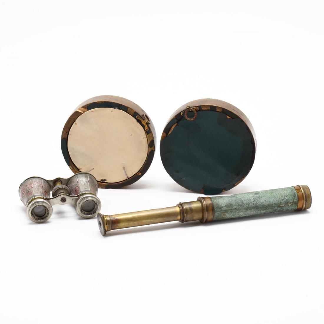 Antique Opera Glasses, Telescope and Plaques - 3