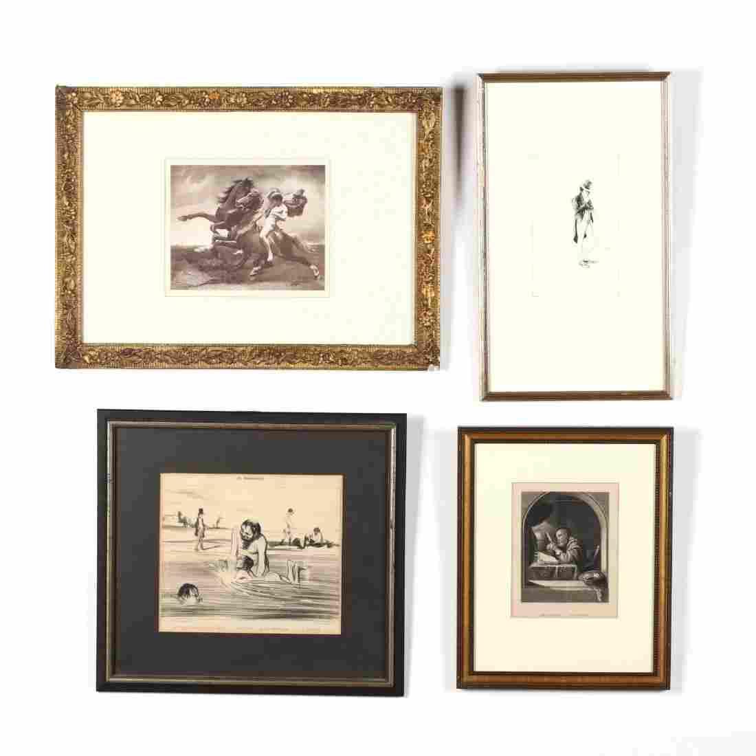 Assorted Group of (4) Framed Figural Works