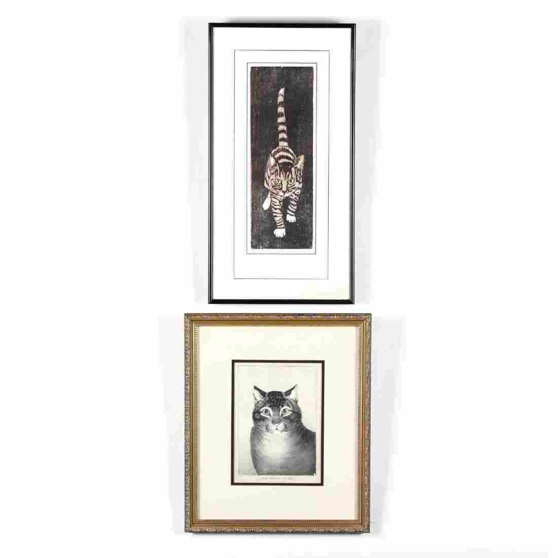 Two Graphic Works Picturing Cats