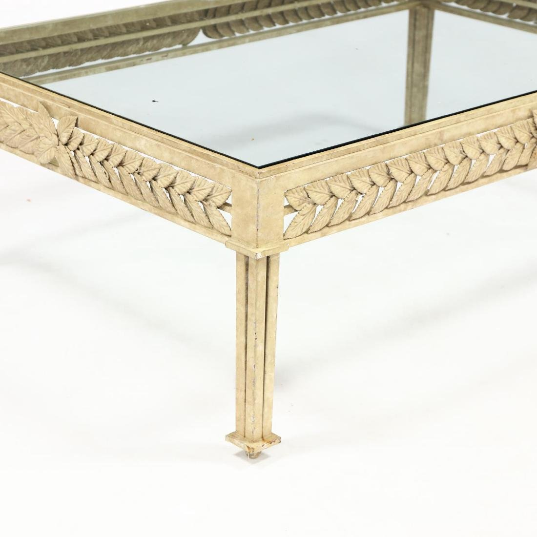 Neoclassical Style Iron and Glass Low Table - 2