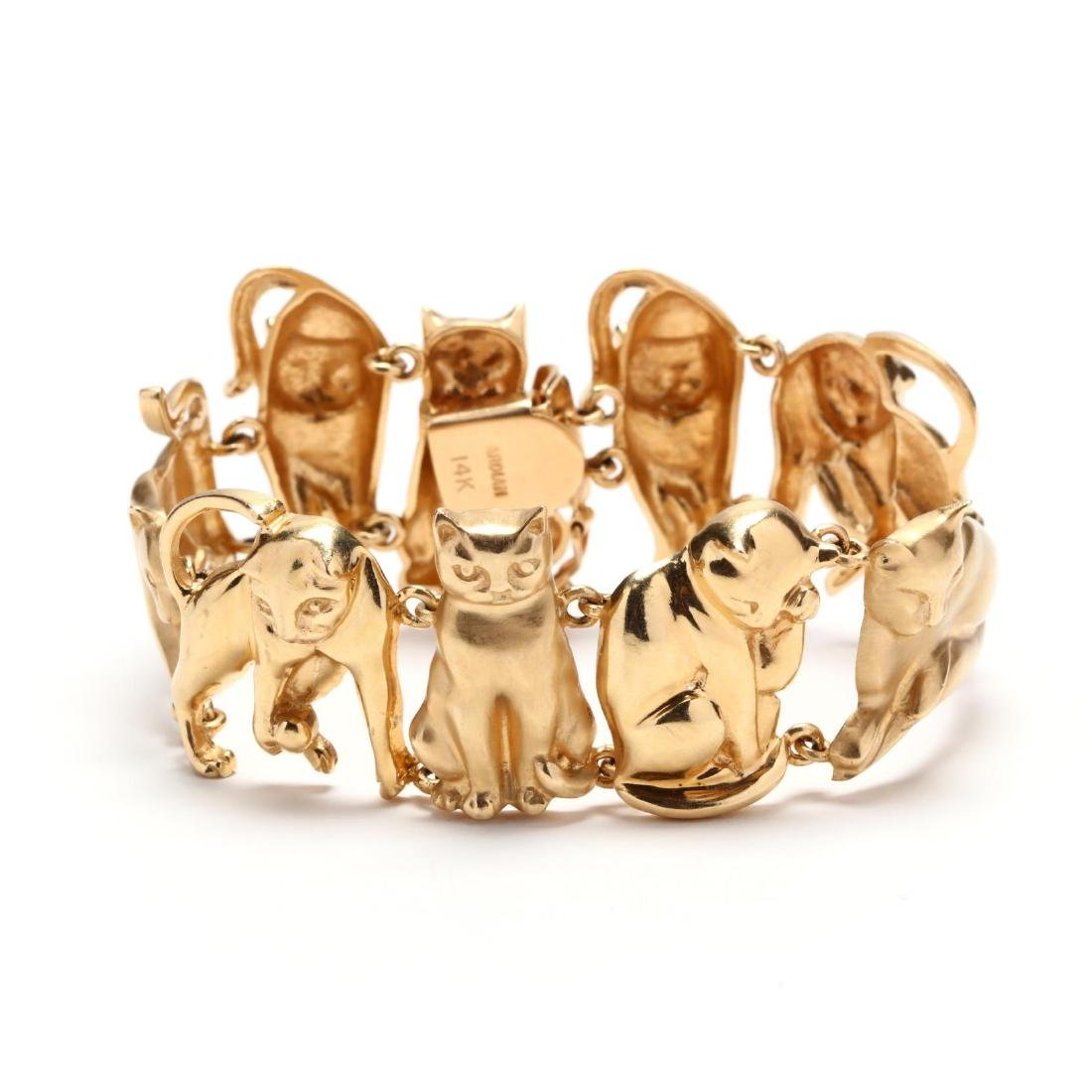 14KT Gold Feline Motif Bracelet, Ardian