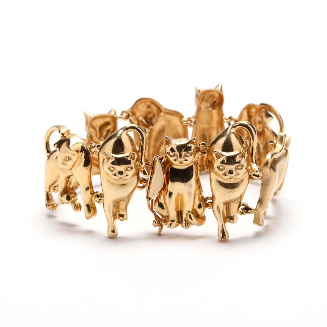 14KT Gold Feline Motif Bracelet, Ardian - 2