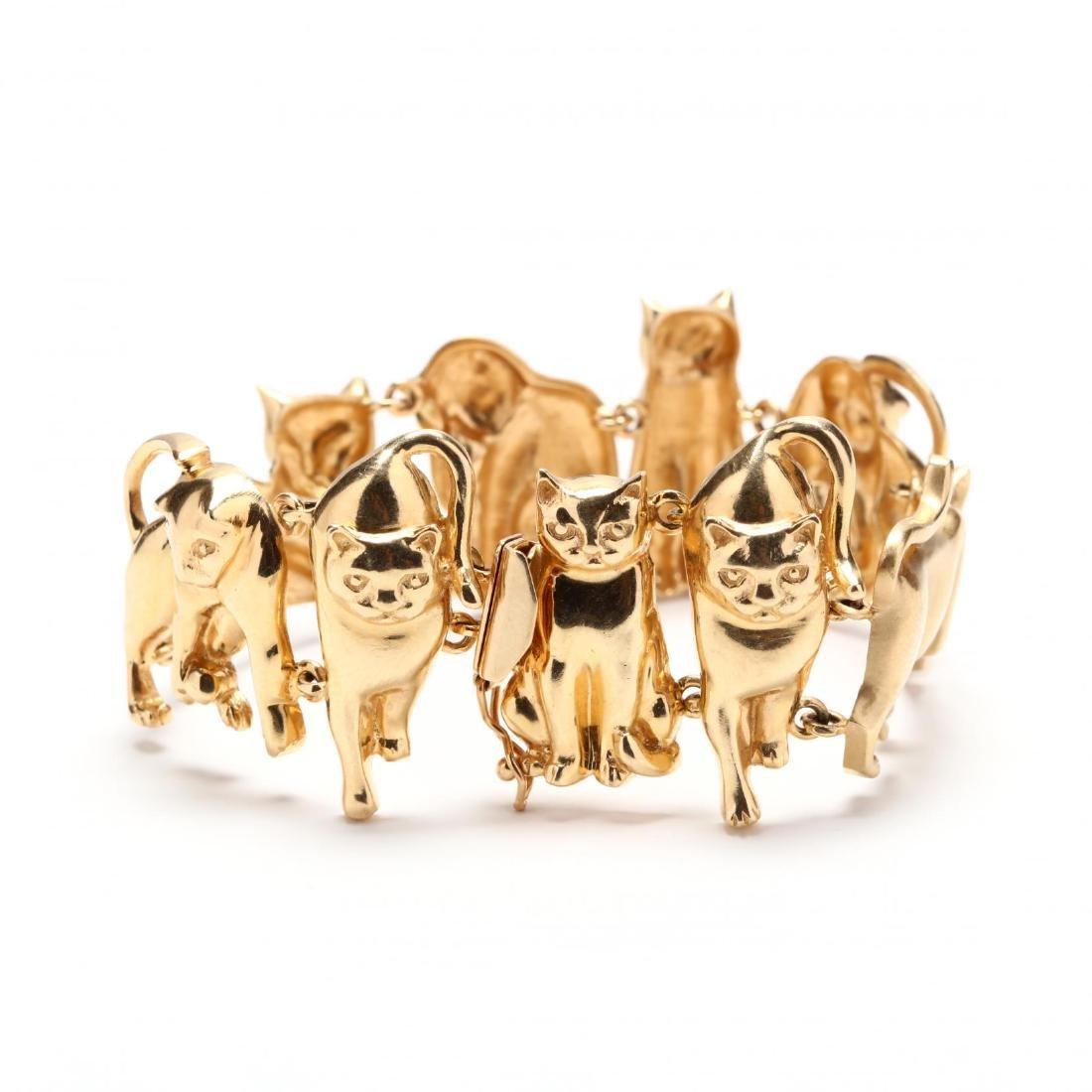 14KT Gold Feline Motif Bracelet, Ardian - 3