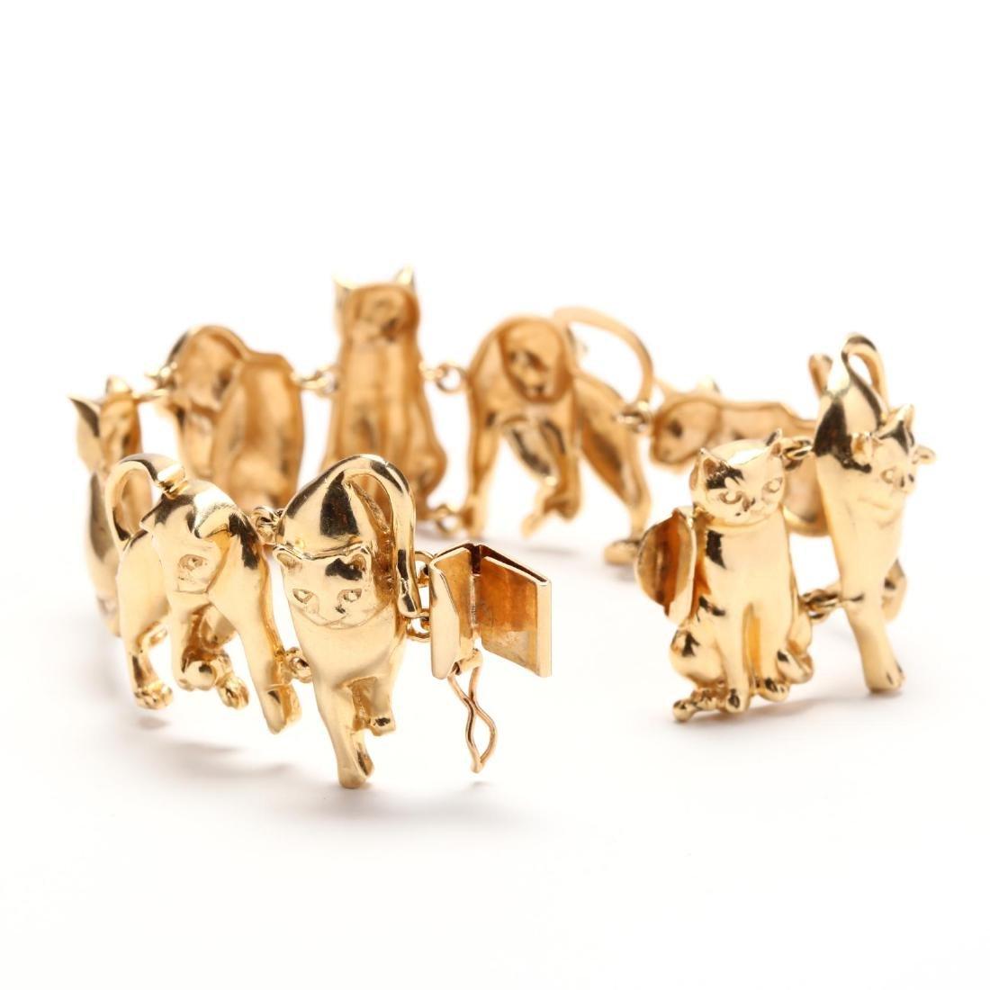 14KT Gold Feline Motif Bracelet, Ardian - 4