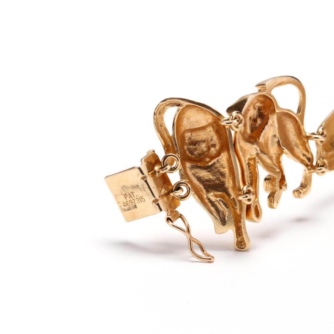 14KT Gold Feline Motif Bracelet, Ardian - 5