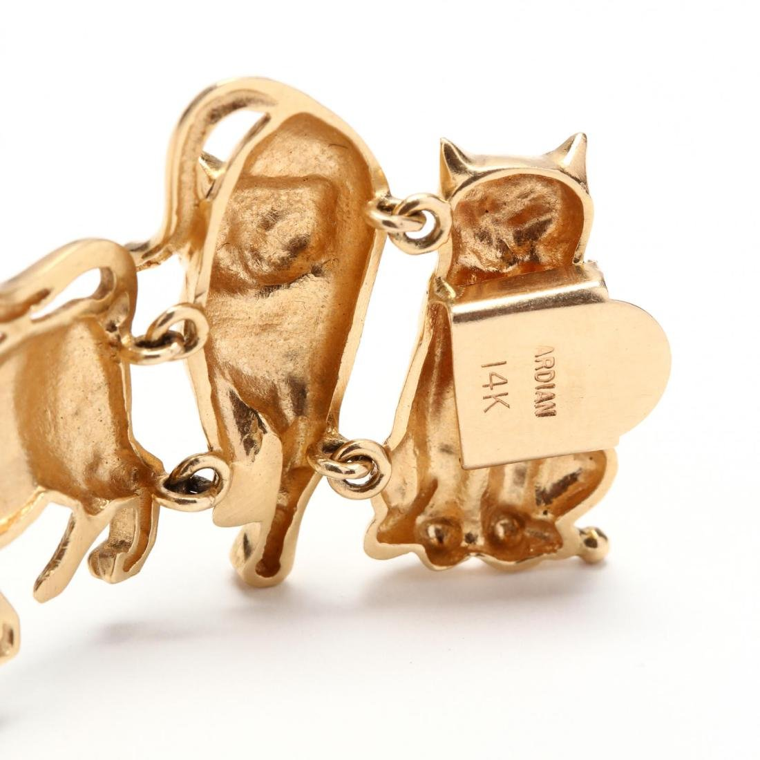 14KT Gold Feline Motif Bracelet, Ardian - 6