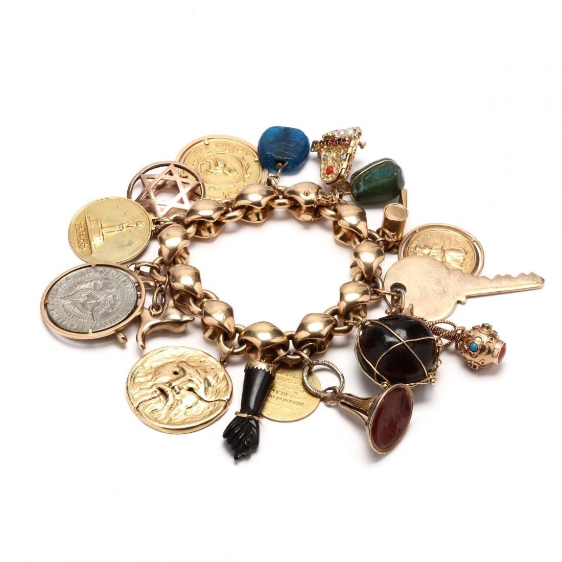 18KT Gold Multi Charm Link Bracelet