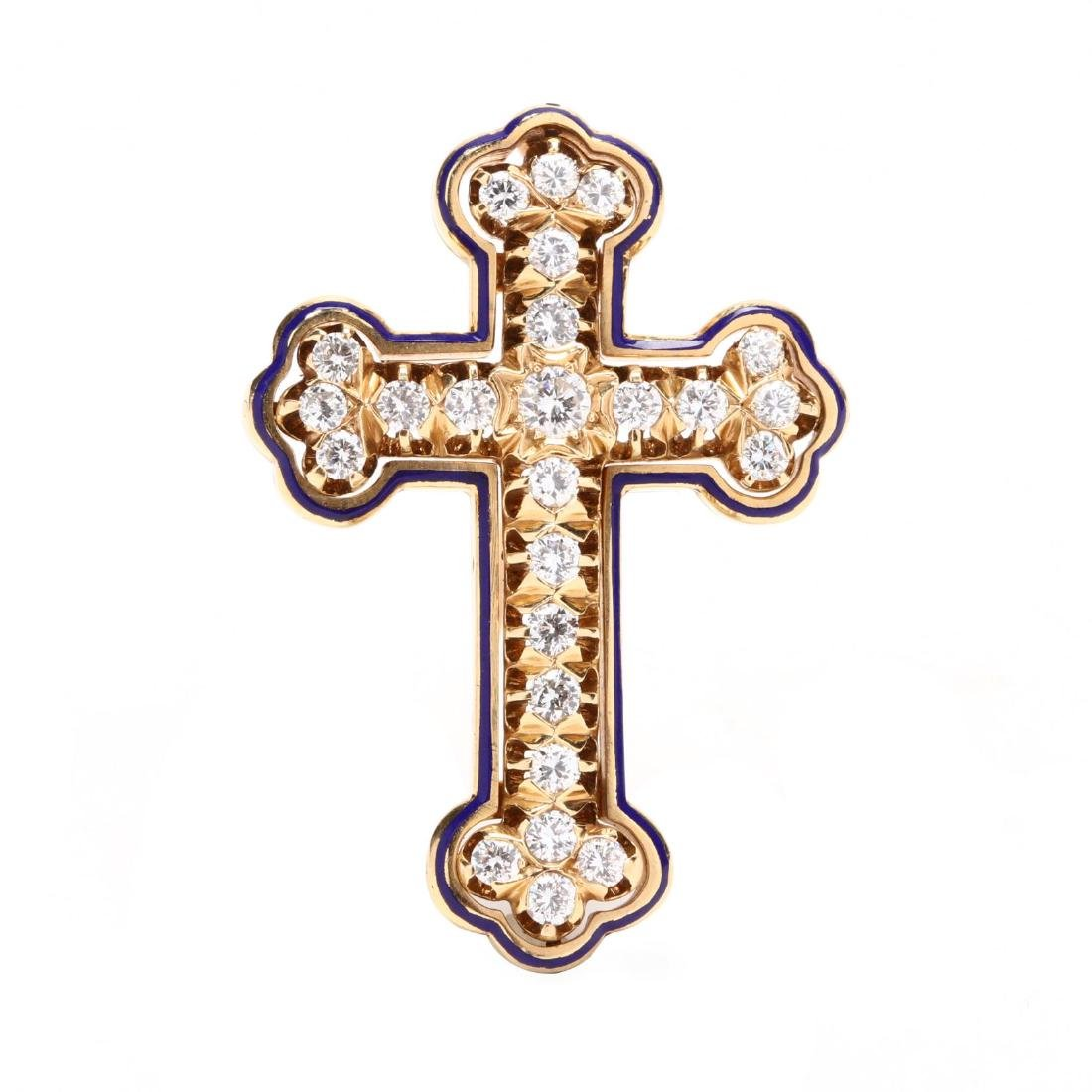 Vintage 14KT Gold, Diamond, and Enamel Cross Brooch /