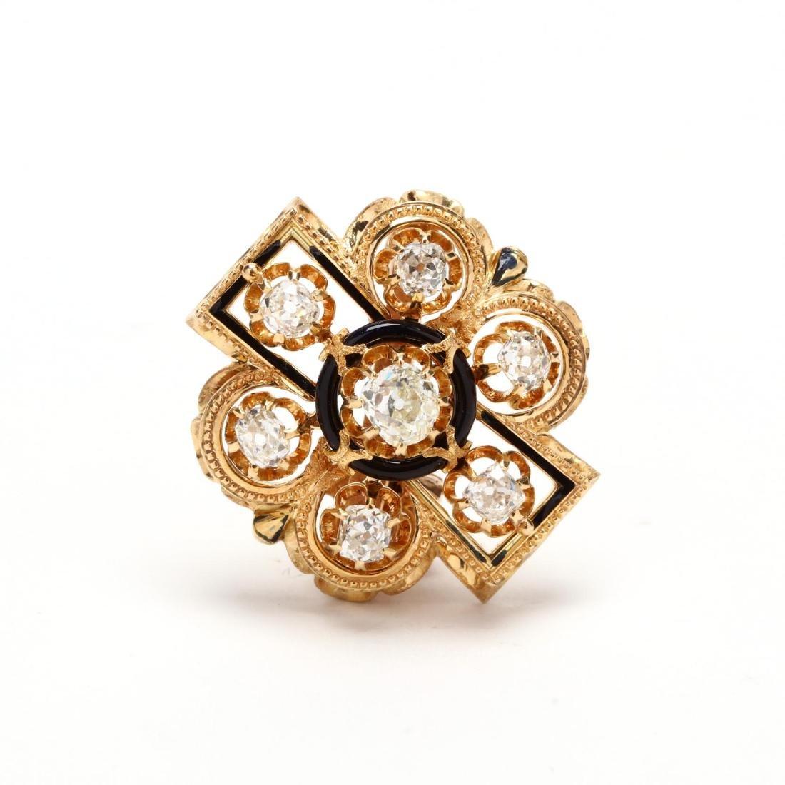 Victorian Gold, Diamond, and Enamel Pendant
