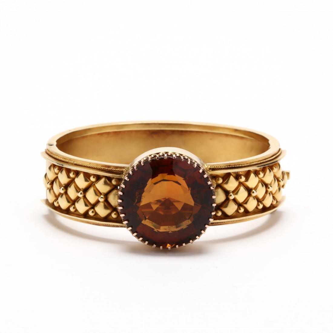 Victorian 14KT Gold and Madeira Citrine Bracelet