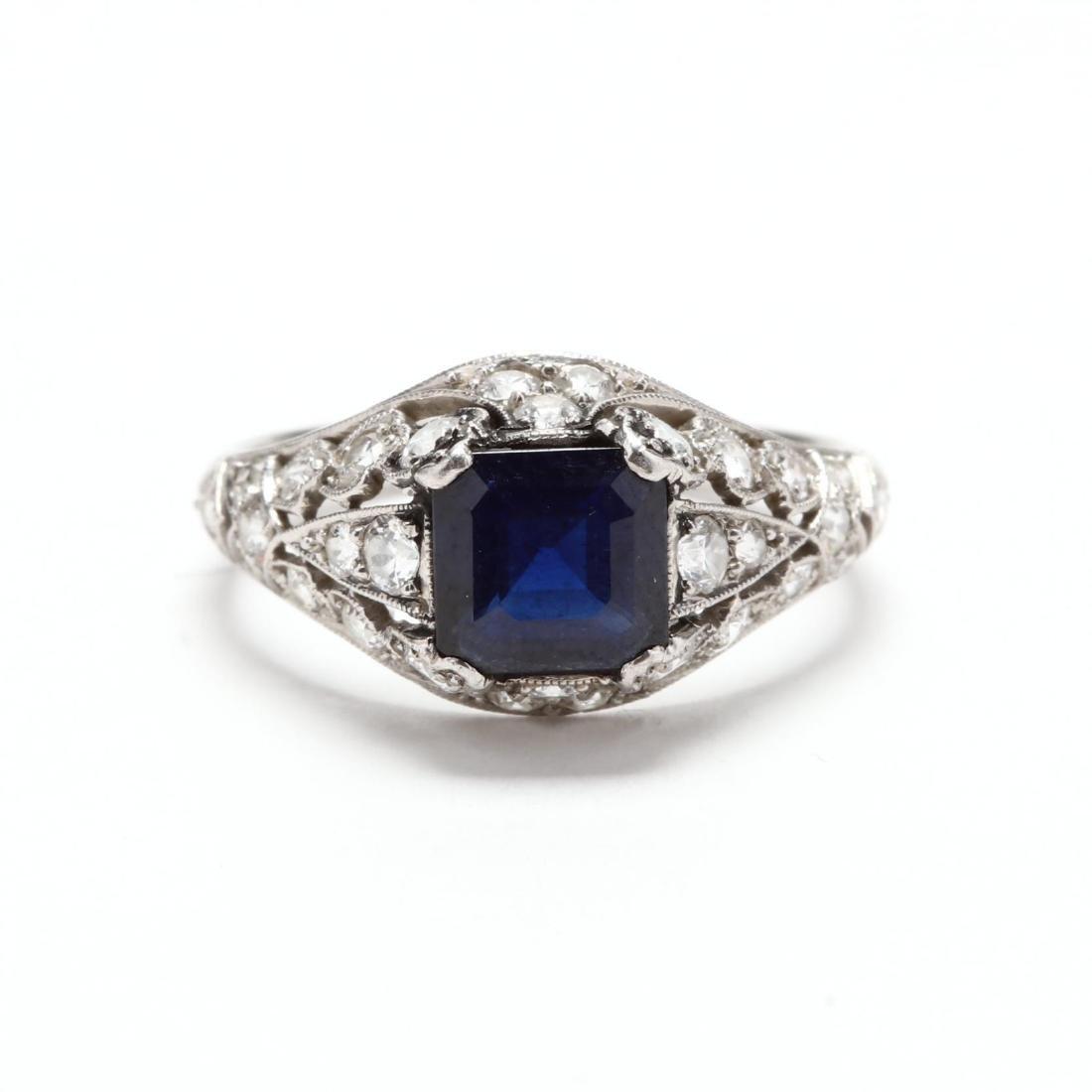 Antique Platinum, Sapphire, and Diamond Ring