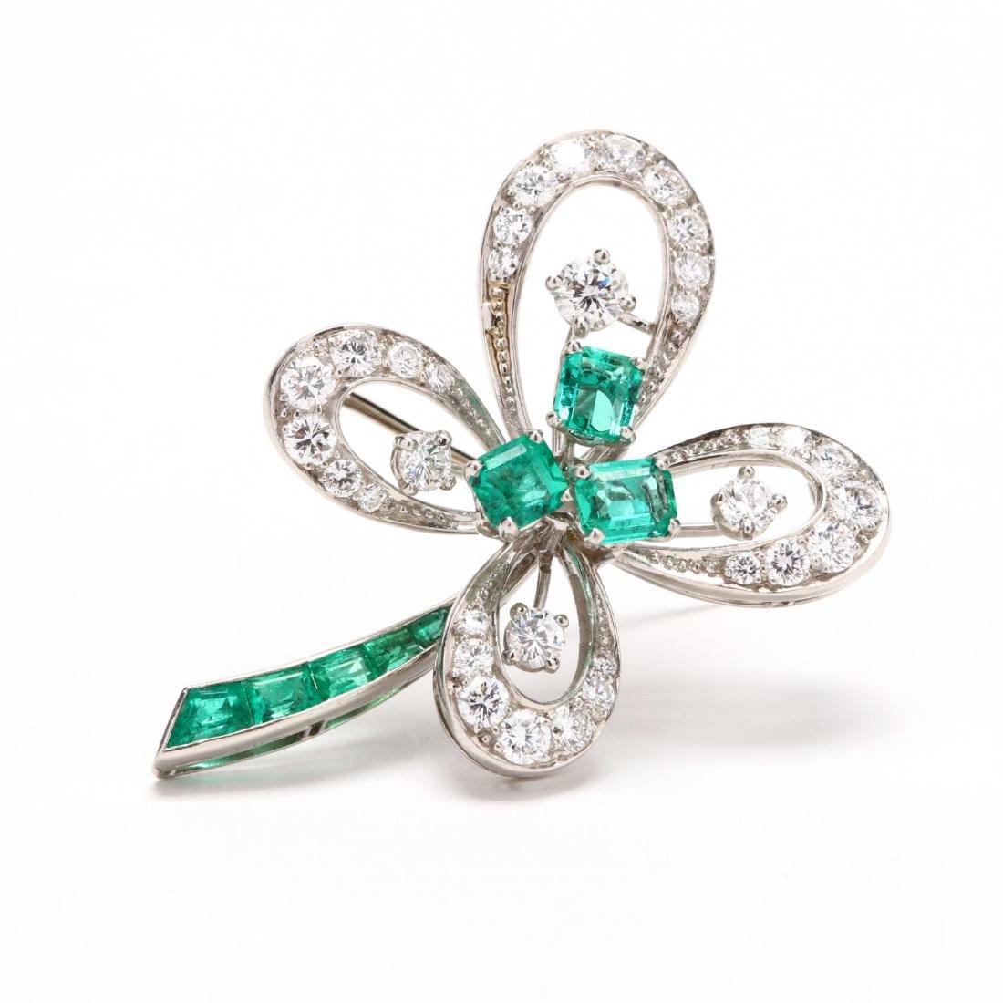 Platinum, Emerald, and Diamond Brooch