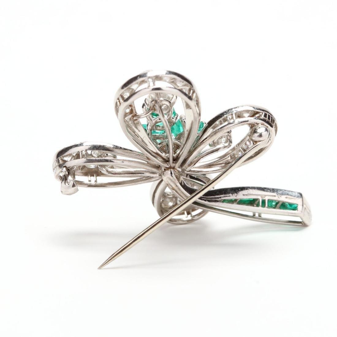 Platinum, Emerald, and Diamond Brooch - 2