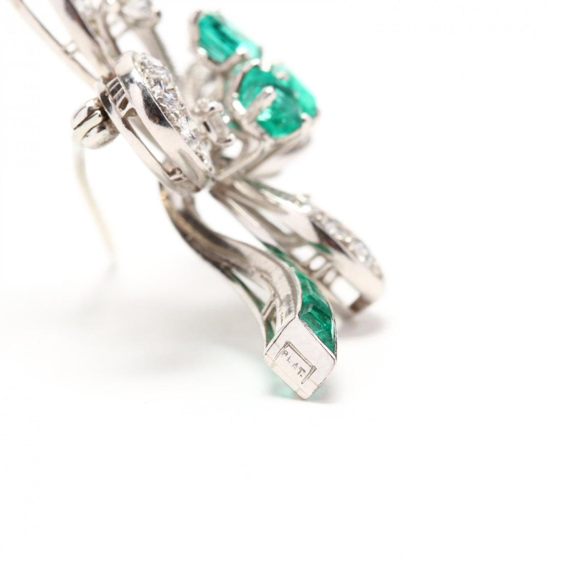 Platinum, Emerald, and Diamond Brooch - 3