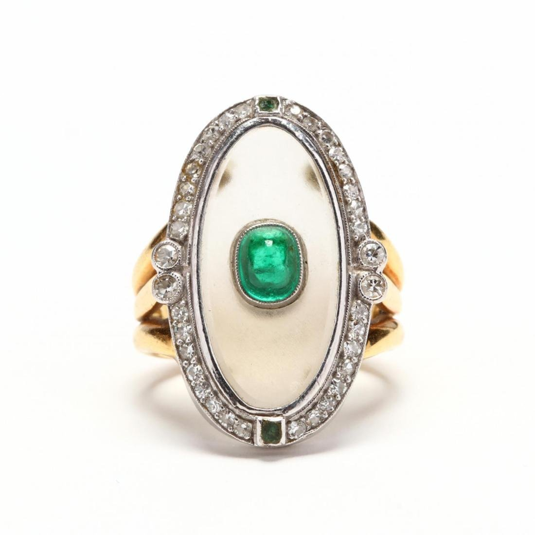 Two Color 18KT Gold, Rock Crystal, Emerald, and Diamond
