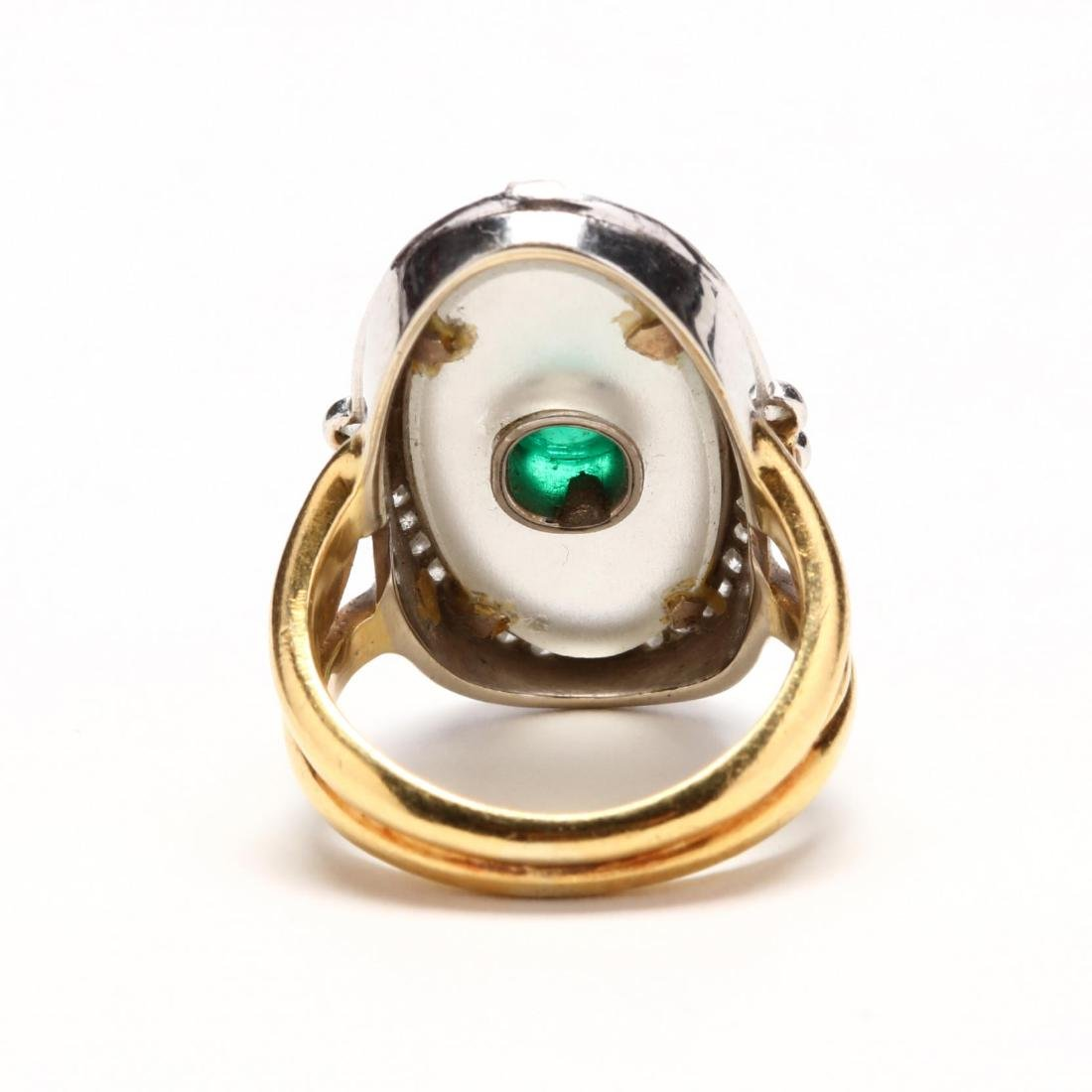 Two Color 18KT Gold, Rock Crystal, Emerald, and Diamond - 3