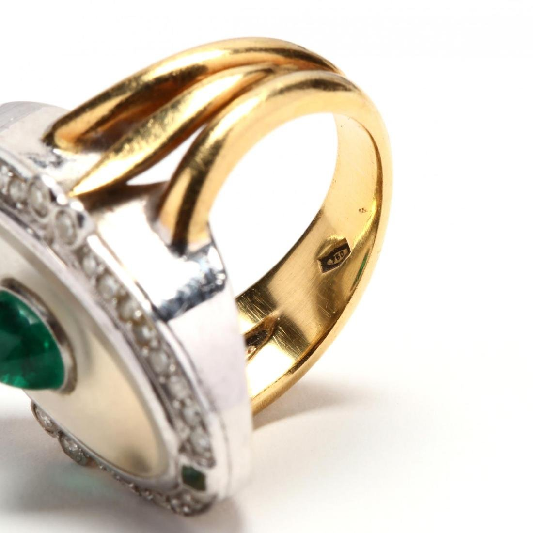Two Color 18KT Gold, Rock Crystal, Emerald, and Diamond - 5
