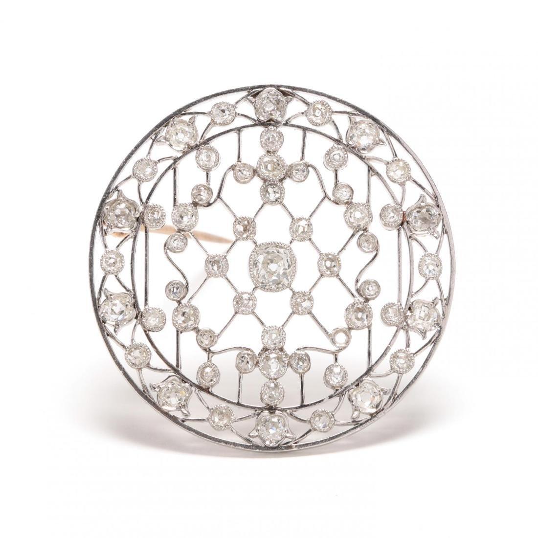 Edwardian Platinum and Diamond Pendant / Brooch