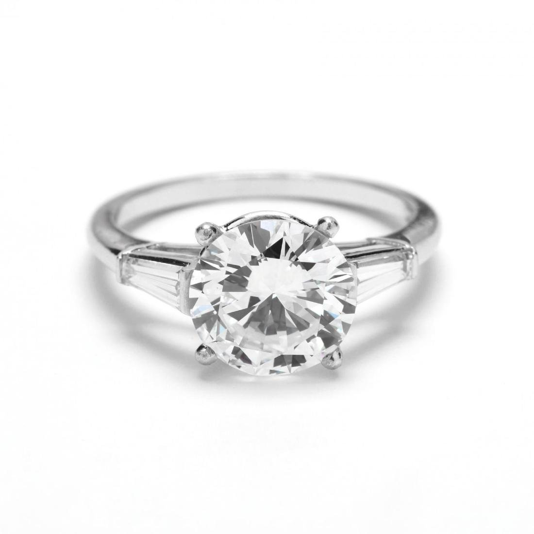 Unmounted Round Brilliant Cut Diamond with Platinum and