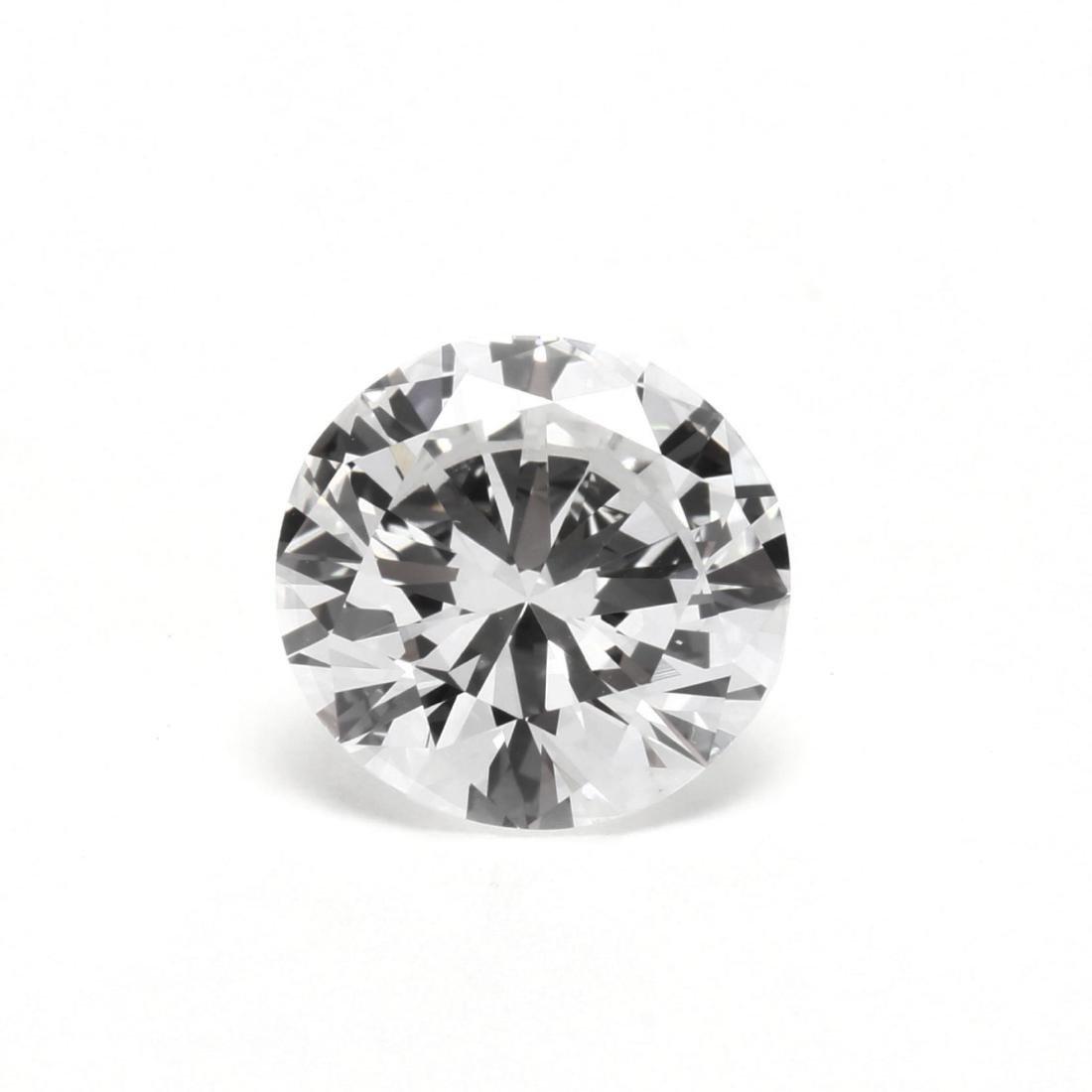 Unmounted Round Brilliant Cut Diamond with Platinum and - 2