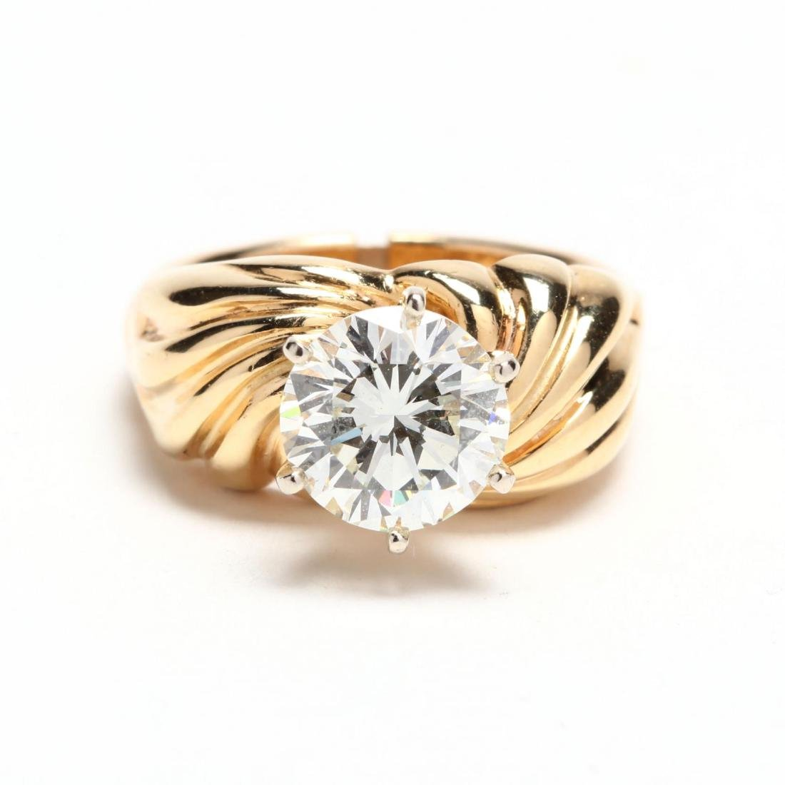 Unmounted Round Brilliant Cut Diamond with 14KT Gold