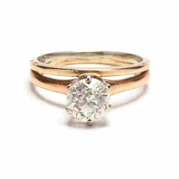 Unmounted Old European Cut Diamond with Gold Mount