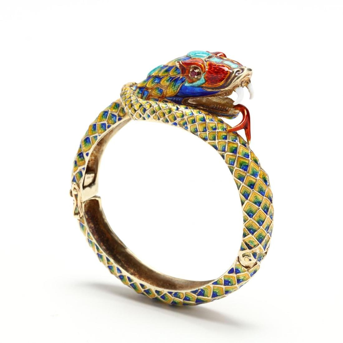 14KT Gold Enamel Snake Bangle Bracelet, Rine