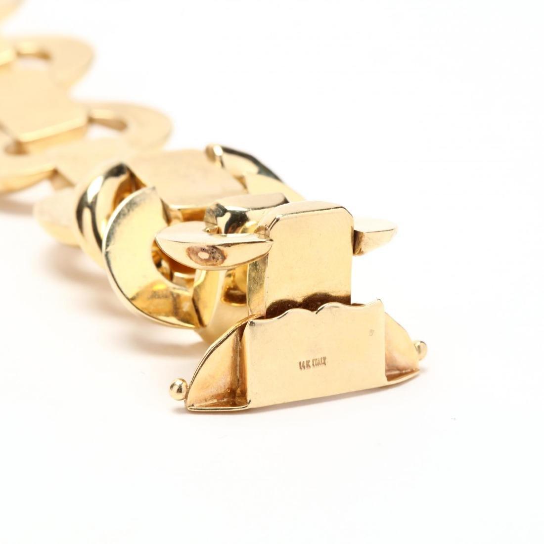 14KT Gold Bracelet and Earrings, Italy - 2