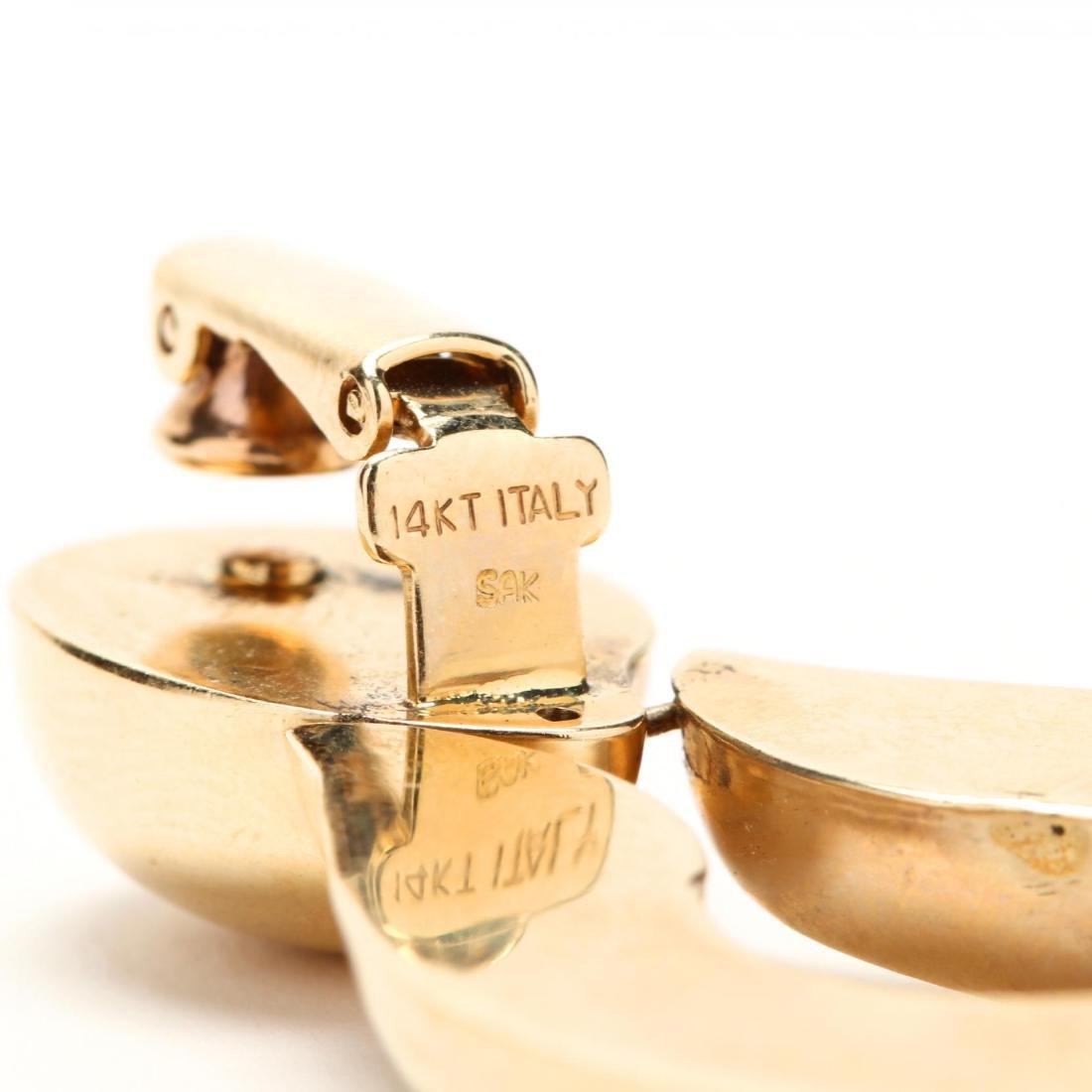 14KT Gold Bracelet and Earrings, Italy - 3