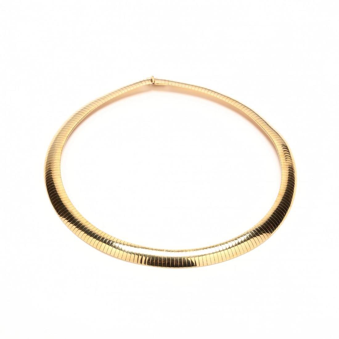 14KT Gold Wide Omega Necklace