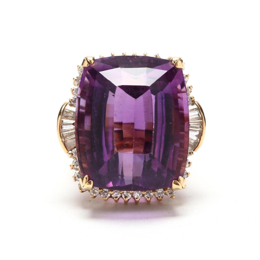 14KT Gold Amethyst and Diamond Ring